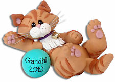 ORANGE TABBY KITTY CAT Personalized Ornament Handmade Polymer Clay by Deb & Co