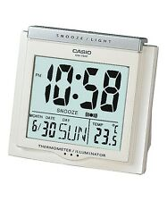 DQ-750F-7D White Digital Home Clock Tracel Thermometer Alarm Snooza New