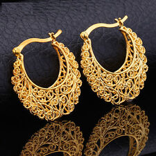 18K Gold Vintage Chandelier Pierced Basketball Wives Earrings Hoop L48