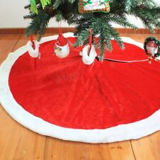 120cm Round Red Plush Xmas Christmas Tree Skirt Santa Claus Decorations Gifts