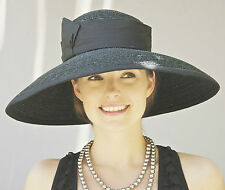 Women's Formal Black Hat, Black Wide brim hat Church Hat Wedding Hat Funeral Hat