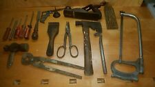 Antique & vintage tool lot hand tools oddities 17 pcs wood mixed metals oil  USA