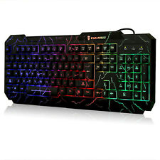 Cooling Crack Rainbow LED Illuminated Backlight USB Wired Gaming Keyboard For PC