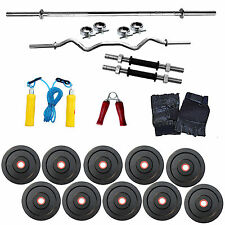 FITFLY Home Gym 20Kg Weight+ 3Ft Curl + 3ft plain Rod+ Gloves+ Dumbbell+H. Grip