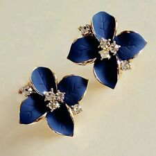 2016 new elegant noble blue flower gold plated rhinestone earrings