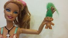 """GREEN .8"""" TROLL DOLL for Barbie Ken Kelly Nursery Play Toy Accessory Collectible"""