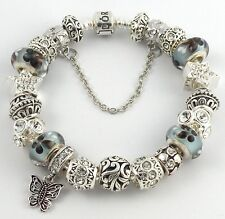 Authentic PANDORA Barrel Bracelet with European Charms & BUTTERFLY Murano Beads