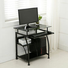 Black Computer Desk Laptop Table Home Office PC Corner Workstation Furniture