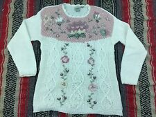 CLASSIC ELEMENTS - FAIRY KEI SWEATER - Vtg 80s-90 White & Pink, MEDIUM