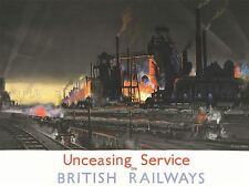 TRAVEL TRANSPORT UNCEASING SERVICE BRITISH RAILWAYS TRAIN FIRE POSTER LV4492