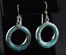 Sajen Inlaid Turquoise Wire Earrings Sterling Silver .925