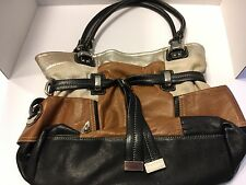 B Makowsky Multi Colored Leather Silver Tone Hardware Handbag Shoulder Bag