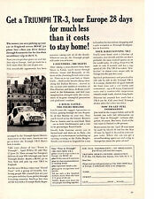1960 TRIUMPH TR-3 / TR3 - TOUR EUROPE ~ ORIGINAL PRINT AD
