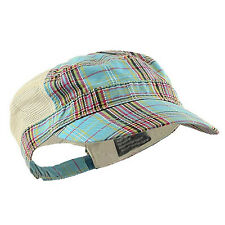 Women's Sky Blue Plaid Jeep Cadet Style Cap w/ Cream Colored Mesh Trucker Back