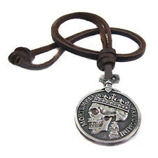 Men's Charms Vintage Silver Skull Pendant Genuine Leather Necklace Engaging