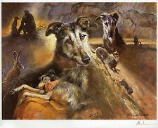 LURCHER COURSING POACHERS DOG LIMITED EDITION PRINT - by the Late Mick Cawston