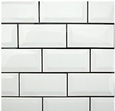 "GLOSSY White Beveled Subway Backsplash Tile Ceramic 3""X6"" KITCHEN BATHROOM 80PCS"
