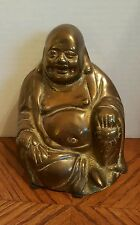 Vintage Chinese Happy Maitreya Buddha Ruyi Bronze or Brass Statue ~ Nice Patina