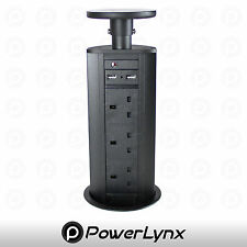 BLACK Pop Up Power Pod 2 TOP USB Charge Ports 3 UK Mains Sockets Worktop Pull