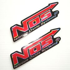 2PC. RED NOS NITROUS OXIDE SYSTEMS REFLECTIVE STICKER DIE-CUT FOIL EMBOSS