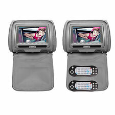 "Pair 2x 7"" HD Car Gray Headrest Digital Monitor DVD Player Pillow USB SD IR"