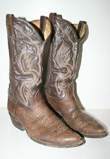 Good Vintage Brown Tony Lama Orante Cowboy Western Leather Boots Size 9 RARE