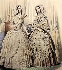 LE FOLLET 1845 Hand-Colored Fashion Plate #1269 White Dresses w/Lace & Ribbon
