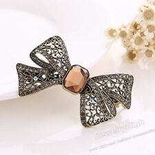 """2.7"""" Pink Crystal Bowknot Hair Barrette Clip Hairpin Accessories Bridal Wedding"""