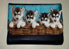 SIBERIAN HUSKY PUPPY DOG MONEY PURSE WALLET PET ANIMAL LOVER PHOTO FAN GIFT