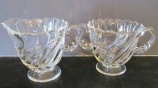 "VINTAGE FOSTORIA, ""COLONY"" SWIRL CLEAR GLASS SUGAR AND CREAMER SET"