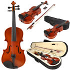 Basswood 1/8 Full Size Natural Acoustic Violin Fiddle with Case Row Rosin New