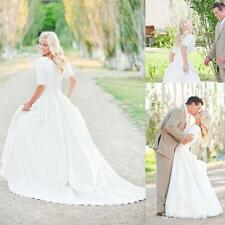 Modest Short Sleeves Wedding Dress Bridal Gown Custom Size 4 6 8 10 12 14 16 18+