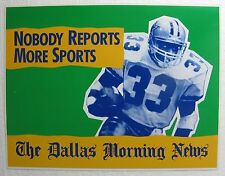 "Tony Dorsett & Sam Perkins 13x17"" Plastic Sign - Dallas News (Cowboys/Mavericks)"