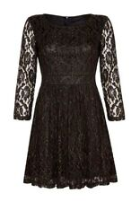 Mela Loves London Black Gold Lined Lace 3/4 Sleeve Stretch Pleat Skirt Dress 10