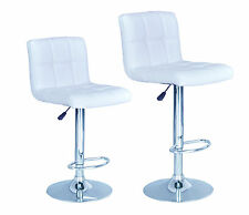 Modern Adjustable Synthetic Leather Swivel Bar Stools Chairs B06-Sets of 2 White