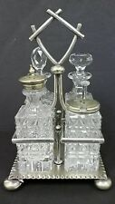 ANTIQUE ENGLISH SILVERPLATE & CUT CRYSTAL 4-BOTTLE CRUET SET c. 1870's S B & M