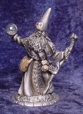 Very Detailed PEWTER WIZARD with Dragon Staff & Crystals