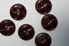 8pc 25mm Gloss Chestnut Brown Mock Leather Effect Coat Cardigan Kids Button 2674