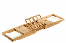 Prosumer's Choice Natural Bamboo Bathtub Caddy Book, Tablet, Phone, Wine Holder