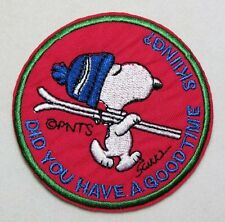 Snoopy Ski Hat Skiing Good Time Skiing? round Embroidered Iron On / Sew On Patch