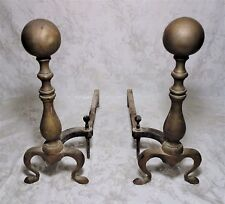 Pair Antique Vintage Brass Cannon Ball Fireplace Tools Andirons Log Holder