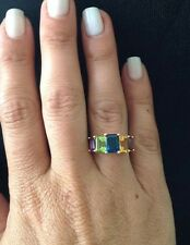14K YELLOW GOLD 3 STEP GEMSTONE RING CITRINE PERIDOT BLUE TOPAZ SZ 8 4.85 GR