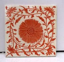 Mintons Arts & Crafts Aesthetic Sunflower Red & Cream Tile 2nd of 2