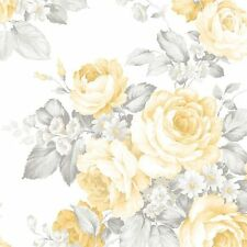 Soft Yellow and Gray Roses on White Wallpaper Traditional Farmhouse Chic DIY