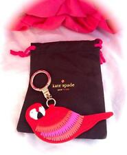 NWOT *KATE SPADE* NEW YORK ~LEATHER PARROT KEYCHAIN KEY RING~ FOB CHARM W/POUCH!