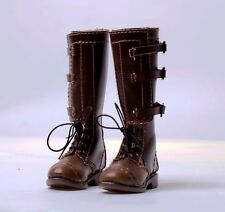 custom 1/6 brown lace-up long leather boots