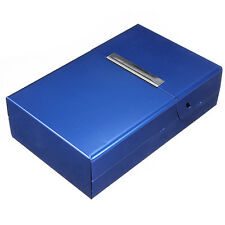 Blue Aliminium CIGARETTE BOX ~ ~ ~ ~ coloured metal cigaret colour case cigeret