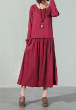 Womens Maxi Linen Dress Long Sleeve Loose Casual Flax Kaftan Vintage Clothes  M