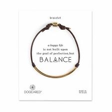 Dogeared Balance Gold Dipped Tube Brown Leather Carded Bracelet