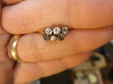 VTG ANTIQUE 10K YELLOW GOLD LADIES ART DECO ERA RING, 5 x SAPPHIRES, SEED PEARL